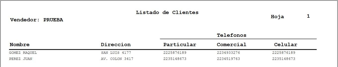Listado de Clientes